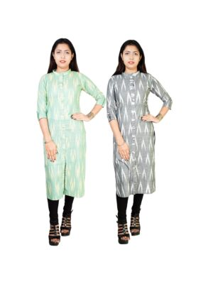 Cotton women's A-line kurti kurta for women combo ( pack of 2 )