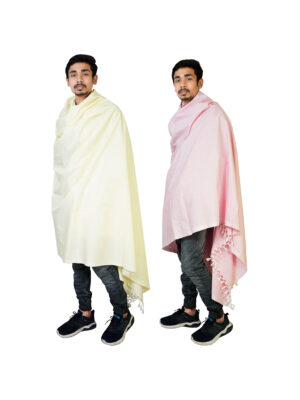 Riyashree men's cotton all weather plain stole shawl for winter and summer (52″ * 94″) combo ( pack of 2 )